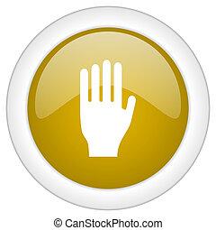doré, toile, mobile, app, arrêt, illustration, bouton, conception, lustré, icône, rond
