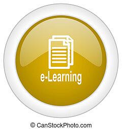 doré, toile, mobile, app, illustration, bouton, conception, lustré, apprentissage, icône, rond