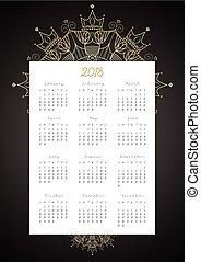 doré, tout, 12, luxe, mois, décoration, vecteur, 2018, fond, noir, calendrier, mandala, design.