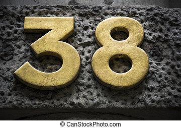 doré, trente, mur, nombre, sombre, huit