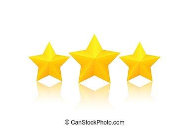 doré, trois, étoiles
