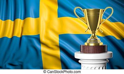 doré, trophée, à, drapeau suédois, dans, fond
