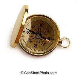 doré, unique, fond blanc, compas