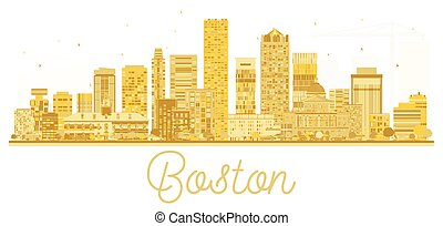 doré, usa, ville, boston, silhouette., horizon