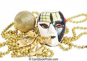 doré, vacances, masque, à, décorations