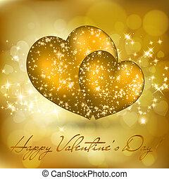 doré, valentine, deux, salutation, cœurs, jour, carte