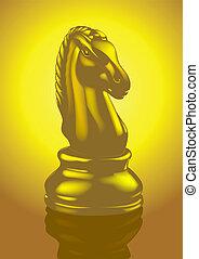 doré, vecteur, -, échecs, chevalier
