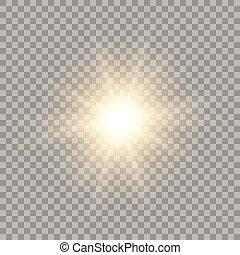 doré, vecteur, briller, soleil