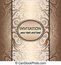 doré, vecteur, carte, ornements, invitation