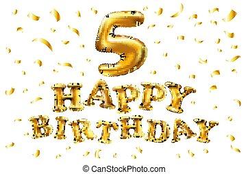 doré, vecteur, métallique, balloon., cinq, nombre, nouveau, carnaval, décoration, anniversaire, year., anniversaire, anniversaire, balloons., fête, vacances, 5, signe, célébration, heureux