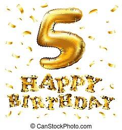doré, vecteur, métallique, balloon., nombre, nouveau, signe, décoration, anniversaire, vacances, anniversaire, anniversaire, fête, balloons., année, cinq, 5, carnaval, célébration, heureux