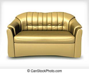 doré, vecteur, sofa., cuir