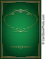 doré, -, vecteur, vert, décorations, carte