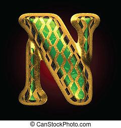 doré, vecteur, vert, lettre n