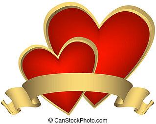 doré, (vector), deux, rouges, cœurs, ruban