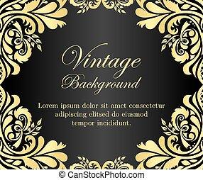 doré, vendange, cadre, arrière-plan noir, floral