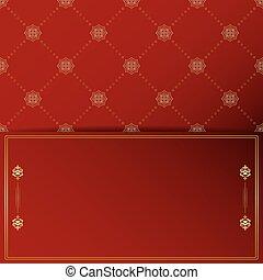 doré, vendange, ornement, cadre, rouges, sombre, vecteur, fond