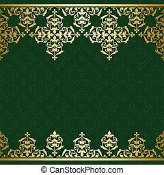 doré, vendange, ornement, vecteur, arrière-plan vert