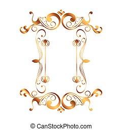 doré, victorien, carrée, style, étiquette