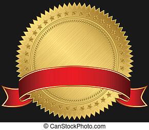 doré, vide, rouges, étiquette