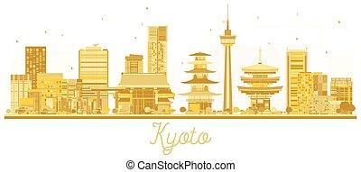 doré, ville, kyoto, silhouette., horizon, japon