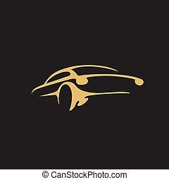 doré, voiture, illustration, vecteur, logo, minimal