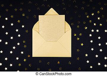 doré, (yellow), couleur, vide, carte, dans, ouvert, enveloppe, sur, arrière-plan noir, décoré, à, étoile, confetti.
