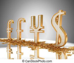 doré, yen, dollar, signes, livre, euro