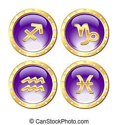 doré, zodiaque, ensemble, signes
