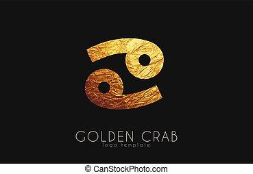 doré, zodiaque, signe., crabe, crab.
