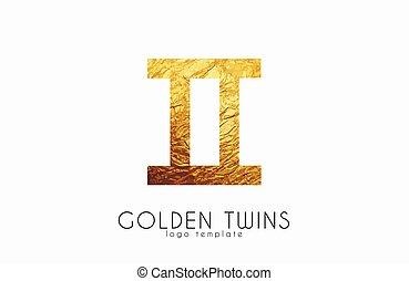 doré, zodiaque, twins., jumeaux, signe.
