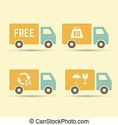 doręczenie, komplet, wektor, ciężarówki, ikony
