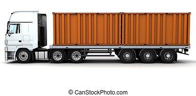 doręczenie, kontener, fracht, pojazd