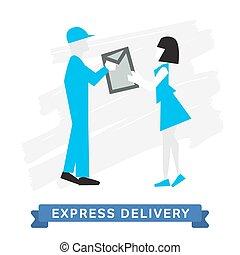 doręczenie, poczta wyrażają, symbols., delivery.
