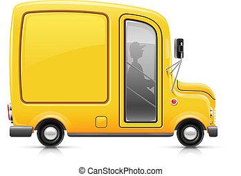 doręczenie, wóz, żółty