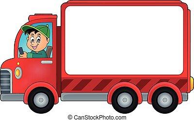 doręczenie, wóz, temat, 2, wizerunek