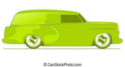 doręczenie, zielony, wózek