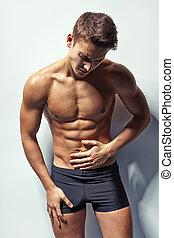 dor abdominal, whis, muscular, homem