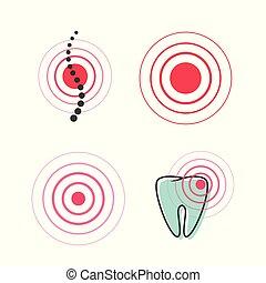 dor, clipart, ponto, médico, mancha, espinha, dente, símbolo, vetorial, ícone, dor, círculo, magoado, ou, doloroso, sinal