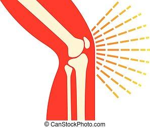 dor, -, conjunto, ossos, joelho, ícone