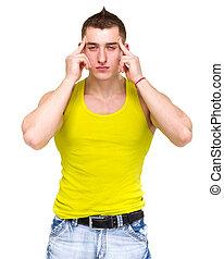 dor de cabeça, branca, homem, isolado, jovem