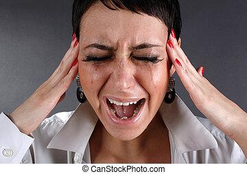 dor, e, depressão, -, gritando, mulher, com, lágrimas