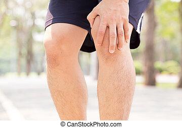 dor, exercitar, enquanto, joelho, tendo, homem