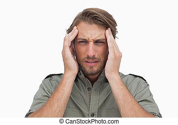dor, homem, dor de cabeça, grimacing