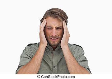 dor, homem, dor de cabeça, wincing