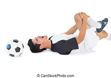 dor, jogador, baixo, shouting, futebol, mentindo