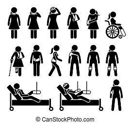 dor, médico, accident., ortopedia, corporal, apoio, devido, produtos, ferimento