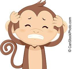 dor, macaco, ilustração, dor de cabeça
