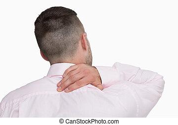 dor, pescoço, negócio, vista, parte traseira, homem
