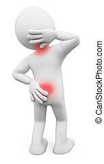 dor, pescoço, pessoas., costas, branca, homem, 3d